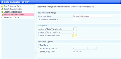 Configuration Wizard—Specify Transfer Settings